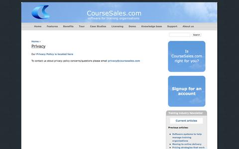Screenshot of Privacy Page coursesales.com - Privacy | CourseSales.com - captured July 22, 2018