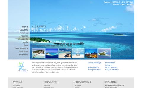 Screenshot of Home Page hideawaydestination.com - Home | Hideaway Destination , Maldives - captured Oct. 1, 2014
