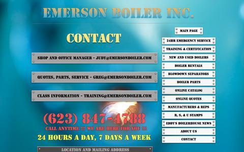 Screenshot of Contact Page emersonboiler.com - Contact Us - captured June 8, 2018