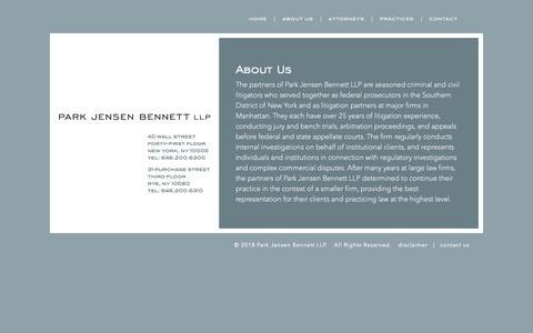 Screenshot of About Page parkjensen.com - About Us - Park Jensen Bennett LLP - captured Dec. 14, 2018