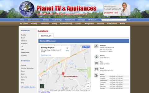 Screenshot of Contact Page Locations Page planettv.com - Contact Planet TV & Appliances in Connecticut - captured Oct. 6, 2016