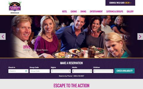 Screenshot of Home Page seminoleimmokaleecasino.com - Seminole Casino Hotel Immokalee - Southwest Florida - captured June 18, 2015
