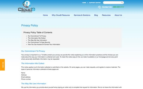 Screenshot of Privacy Page cloud9resource.com - Privacy Policy - Los Angeles, San Diego, Irvine | Cloud9 Resource - captured Oct. 2, 2014