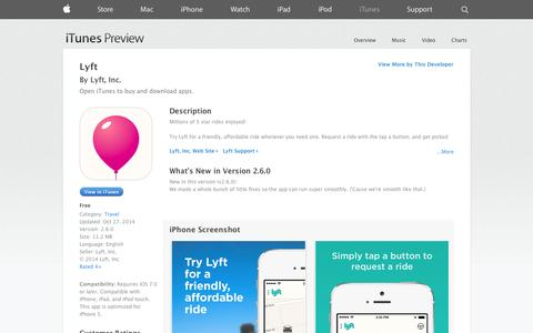 Screenshot of iOS App Page apple.com - Lyft on the App Store on iTunes - captured Nov. 2, 2014