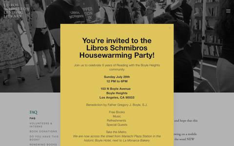 Screenshot of FAQ Page librosschmibros.org - FAQ — Libros Schmibros Lending Library - captured July 19, 2018