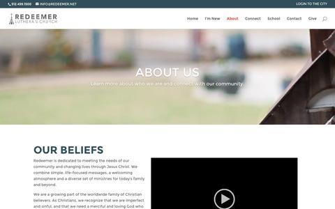 Screenshot of About Page redeemer.net - About | Redeemer Lutheran Church - captured Dec. 1, 2016