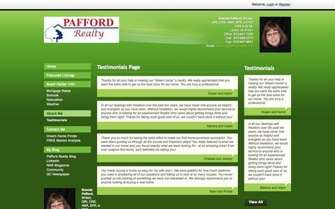 Screenshot of Testimonials Page paffordrealty.biz - Pafford Realty - Testimonials Page - captured July 16, 2015