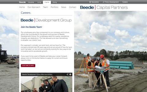 Screenshot of Jobs Page beediecapital.com - Beedie Capital  - Careers - captured Oct. 5, 2014