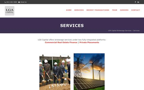 Screenshot of Services Page lgacap.com - Services   LGA Capital Brokerage Services - captured Sept. 25, 2018