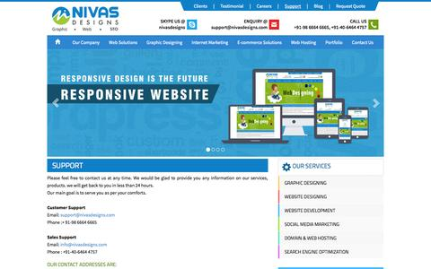 Screenshot of Support Page nivasdesigns.com - Nivas Designs - Support - captured Oct. 7, 2014