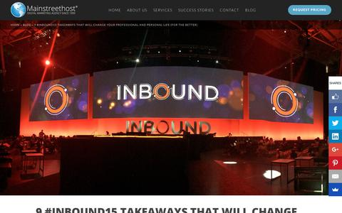 Screenshot of Blog mainstreethost.com - 9 #INBOUND15 Takeaways That Will Change Your Perspective - captured Oct. 1, 2017