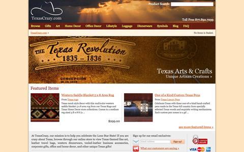 Screenshot of Home Page texascrazy.com - TexasCrazy.com : Unique Texas Gifts Store - captured Jan. 29, 2015