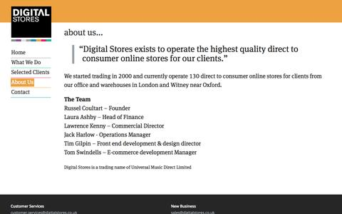 Screenshot of About Page digitalstores.co.uk - About Us - captured Sept. 25, 2014