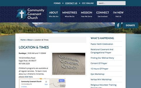 Screenshot of Contact Page communitycovenant.net - Location & Times - captured Oct. 22, 2014