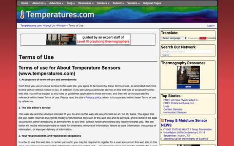 Screenshot of Terms Page temperatures.com - Terms of Use | Temperatures.com - captured Oct. 28, 2017