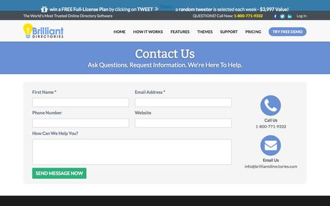 Screenshot of Contact Page brilliantdirectories.com - Contact Business Directory Software Developers - Brilliant Directories - Directory Software - Directory Script - Directory Template - captured Oct. 1, 2015