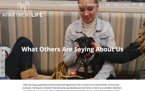 Screenshot of Testimonials Page apartmentlife.org - Testimonials -                         Apartment Life - captured July 15, 2018