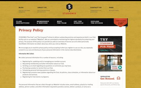 Screenshot of Privacy Page studiomix.com - Privacy Policy - STUDIOMIX - captured Oct. 20, 2018
