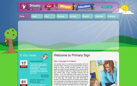 Screenshot of Home Page primarysign.com - Welcome to Seen to be heard - Primary Sign - captured Oct. 4, 2014