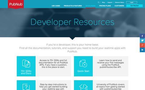 Screenshot of Developers Page pubnub.com - Realtime Development Resources, Tutorials & SDKs for Realtime Apps | PubNub - captured Aug. 28, 2016