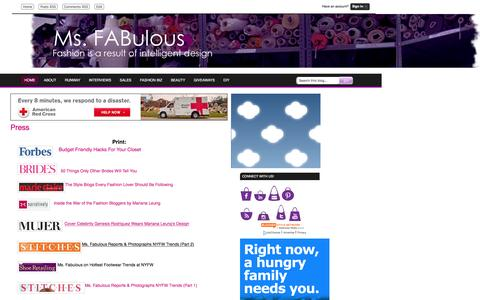 Screenshot of Press Page msfabulous.com - MS. FABULOUS: Press fashion design, indie clothing, style, beauty - captured Dec. 5, 2016