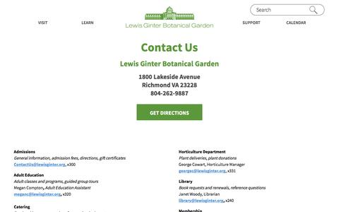 Screenshot of Contact Page lewisginter.org - Contact Us Lewis Ginter Botanical Garden - captured Nov. 6, 2016