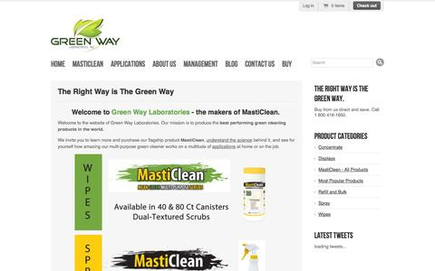 Screenshot of Home Page masticlean.com - Green Way Labs, Inc. - captured Oct. 3, 2014