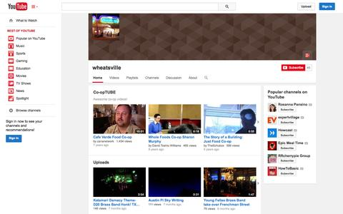 Screenshot of YouTube Page youtube.com - wheatsville  - YouTube - captured Oct. 26, 2014