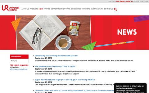 Screenshot of Press Page urc.com.ph - News | Universal Robina - captured Oct. 18, 2018