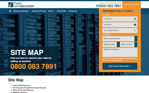 Screenshot of Site Map Page fields-data-recovery.co.uk - Sitemap - captured Aug. 3, 2016