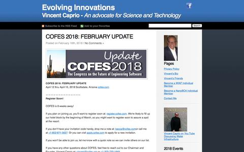 Screenshot of Home Page vincentcaprio.org - Evolving Innovations - captured Feb. 20, 2018