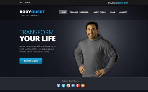 Screenshot of Home Page bodyquestpersonaltraining.com - Louisville Personal Training, KY, Weight Loss, Fitness Trainer, Certified | 300 Distillery Commons #410, Louisville, KY 40206 | (502) 836-6709 | BodyQuest Personal Training - captured Sept. 30, 2014