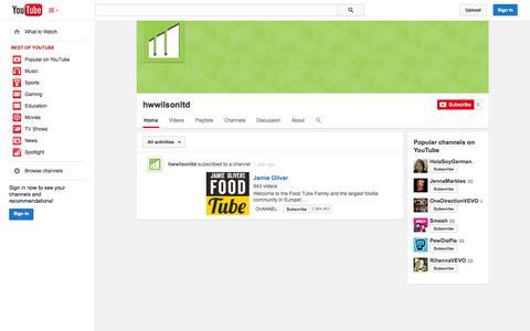 Screenshot of YouTube Page youtube.com - hwwilsonltd  - YouTube - captured Oct. 22, 2014
