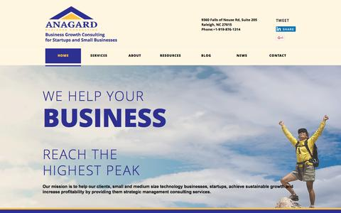 Screenshot of Home Page anagard.com - ANAGARD, LLC Business Growth Consulting for Startups and Small Businesses - captured Sept. 11, 2015