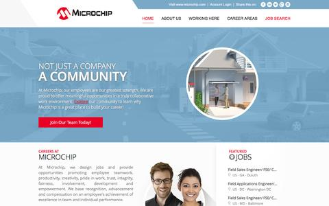 Screenshot of Jobs Page microchip.com - Careers at Microchip | Not just a company - a community. | Home - captured Dec. 1, 2015