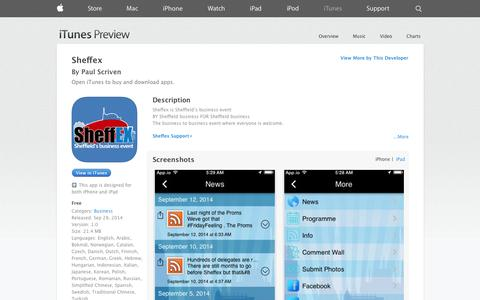 Screenshot of iOS App Page apple.com - Sheffex on the App Store on iTunes - captured Oct. 29, 2014