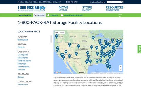 Screenshot of Locations Page 1800packrat.com - 1-800-PACK-RAT Locations - captured March 8, 2017