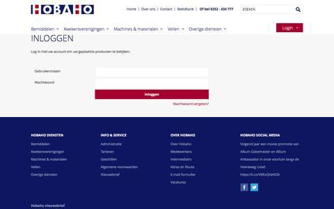 Screenshot of Login Page hobaho.nl - Gebruiker  - Hobaho.nl - captured Dec. 10, 2015