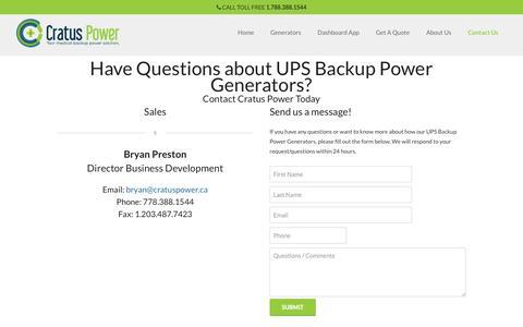 Screenshot of Contact Page cratuspower.ca - Cratus PowerQuestions about UPS Backup Power Generators - captured Oct. 3, 2014
