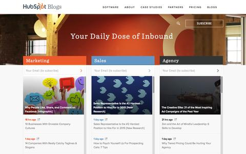 Screenshot of Blog hubspot.com - HubSpot Blog Homepage | Marketing, Sales, and Agency Content - captured July 3, 2015