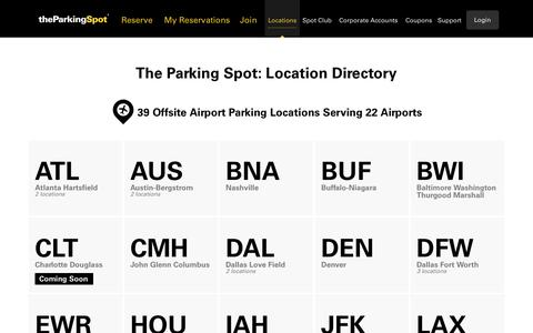 Screenshot of Locations Page theparkingspot.com - Off-Site Airport Parking Local Directory | The Parking Spot - captured Dec. 4, 2017