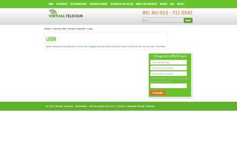 Screenshot of Login Page virtualtelecom.nl - Login | Telefooncentrale | gratis bellen | VOIP - captured Nov. 5, 2014