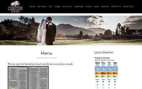 Screenshot of Menu Page carltonoaksgolf.com - Menu - captured Sept. 27, 2018