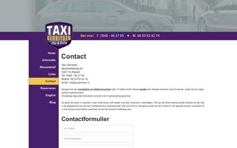 Screenshot of Contact Page taxigerritsen.nl - Contact - captured June 12, 2017