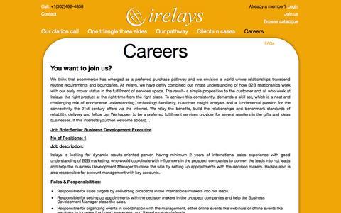 Screenshot of Jobs Page irelays.com - Careers | irelays - captured Sept. 23, 2014