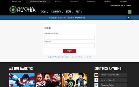 Screenshot of Login Page roosterteeth.com - Login - captured Dec. 25, 2016