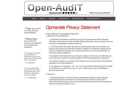 Screenshot of Privacy Page open-audit.org - Open-AudIT - The network inventory, audit, documentation and management tool. - captured Oct. 19, 2018