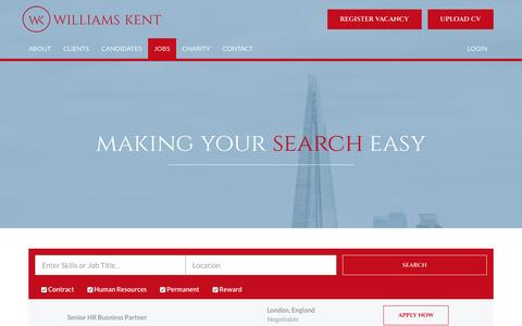 Screenshot of Jobs Page williams-kent.com - Jobs in Human Resources, HR vacancies - Wiliams Kent - captured Nov. 30, 2016