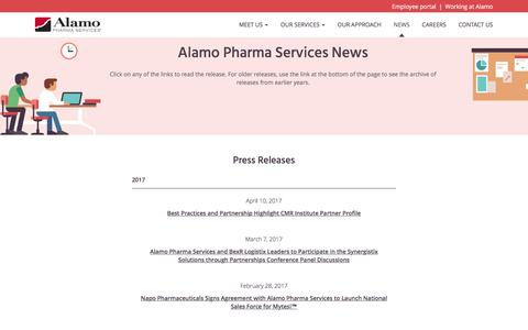 Screenshot of Press Page alamopharmaservices.com - News From Alamo Pharma Services - captured May 29, 2017