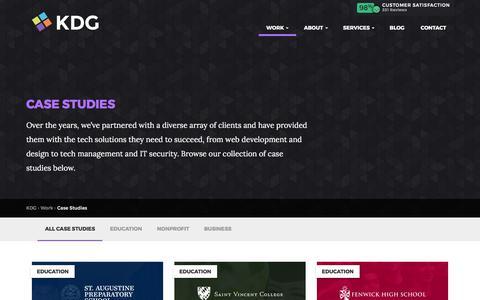 Screenshot of Case Studies Page kyledavidgroup.com - KDG | Case Studies on Higher Ed Web Design & More - captured June 9, 2017